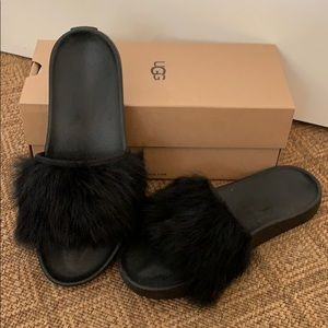 UGG Royale Black Fur Slides